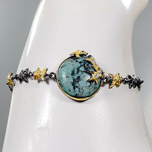 """gemstone jewelry Turquoise Bracelet 925 Sterling Silver  Inches 7.5""""/BR05655"""