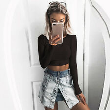 Ladies Women Tight Elastic Pullover T-Shirt Long Sleeve Crop Tops Shirt Blouse