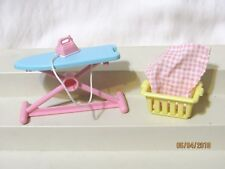Fisher Price Loving Family Lot Ironing Board Laundry Basket Table Cloth 1994