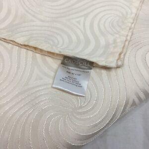 "CROSCILL Ivory Fabric 60 x 120"" Rectangular Tablecloth Damask Swirls Polyester"