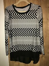 Sunny Taylor Womens Long Sleeve Black & White Top Size PXL