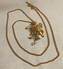"Kirks Folly Goldtone Metal AB & Clear Crystal Cherub Pendant 33"" Necklace"