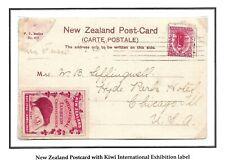 1907 New Zealand International Exhibition Kiwi Cinderella on a Postcard.