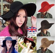 Women Ladies Large Wool Felt Cloche Fedora Floppy Wide Brim Hat Cap Derby