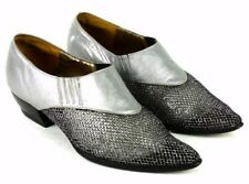 Vtg 80s Gray Leather Metallic Mesh Slip On Shoes Loafers Point Toe Womens Size 7