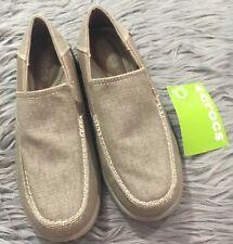 CROCS Santa Cruz 2 Luxe Loafer Shoes Canvas Khaki Tan Sz 7 Standard Fit d485c48bf6