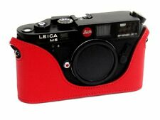 Leather Half Case for Leica M6, M7, MP, M3  (Red with red stitching)