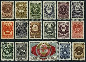Russia 1104-1120,CTO.Michel 1192-1108. Arms of Soviet Union,Republics,1947.