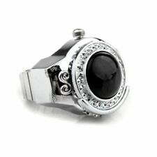 Stretchy Black Round Agate Gem Finger Ring Watch 20mm HOT R7J5