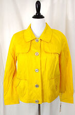 Womens Jacket Blazer Size S Lemon Bright Yellow Two Pocket Gun Flap Style