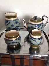 Extrêmement rare James Macintyre 4 Piece Tea Set Florian Ware. Moorcroft