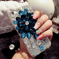 3D Luxury Bling Crystal Diamond flower Rhinestone Hard Clear Phone Case Cover #7