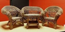 Wicker Love Seat Coffee Table & 2 Chair Set Dolls to Bear