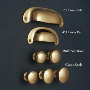 SOLID BRASS CABINET KNOBS CUPBOARD CUP PULL DRAWER HANDLES KITCHEN | POLISHED