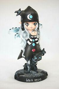 Gothic Elfe mit schwarzer Katze, Fantasy Figur 18 cm hoch Fee WGT