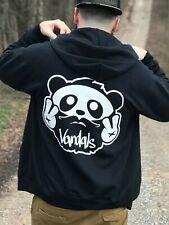Vndlzm Bearded Panda Vandals Black Full Zip Hoodie, Large Tall