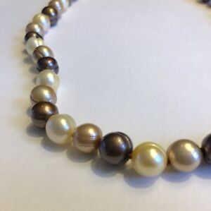 """HONORA Genuine Dyed Brown Tan & Cream Ringed Pearl 18"""" Necklace 9.5mm"""