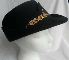 Military Hat Gold Embroidered Black Fabric Cap Size 23 Bonk New York