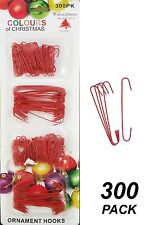 300 Pack Wire Christmas Ornament / Bauble Hooks - Metal - RED