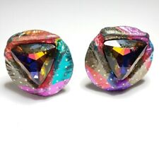 80's Style Multicolor Circle Clip On Earrings