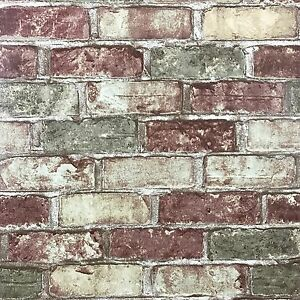 Modern Vinyl Wallpaper textured roll green red rustic old brick 3D wallcoverings