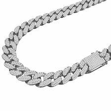 Big 18mm 10k White Gold Tone Full Cz Miami Cuban Link Chain Necklace Men's  New
