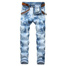 Just No Logo Men's Slim Straight Fit Light Blue Jeans Designed Denim Pantsw36