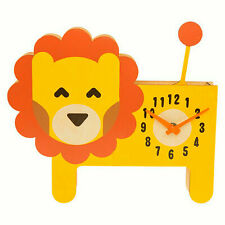 CHILDRENS WOODEN LEO THE LION PENDULUM WALL CLOCK WITH MOVING TAIL BY KIDCRAFT
