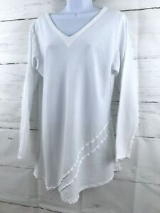 Oh My Gauze White Tunic Top M/L Cotton Long Sleeve Lagenlook V-Neck Shirt A3