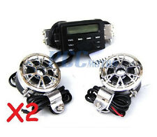 2X Motorcycle Audio FM Radio MP3 iPod Stereo Chrome Speakers Systems I TK11-2SET