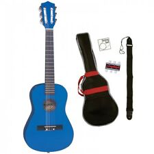 Palma 1/2 Taille Bleu Guitare Classique Kit Sac Inc,Sangle,Cordes & Pitch Tuyau