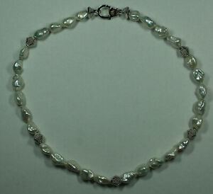 """Authentic Lagos Sterling Silver 18K Gold Caviar Baroque Pearl Necklace 17"""""""