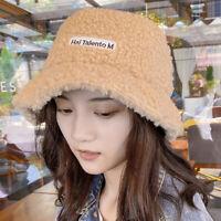 Vintage Bucket Hat Women Winter Wool Fleece Warm Fashion Cloche Fisherman Cap