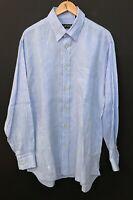 ORVIS Men's Long Sleeve 100% LINEN Button-Front Shirt sz L Large Blue