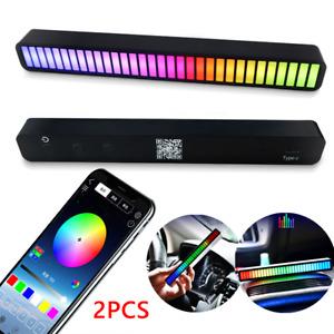 2x 32 LED RGB Car Sound Control Light Voice Activated Pickup Music Rhythm Light