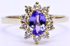 14K Solid Yellow Gold Oval Tanzanite & Diamond Cathedral Set Halo Ring Size 8.5