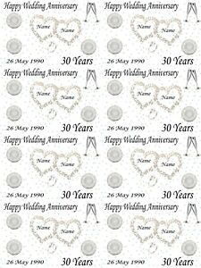 Personalised Pearl 30th Wedding Anniversary Gift Wrapping Paper ADD NAMES & DATE