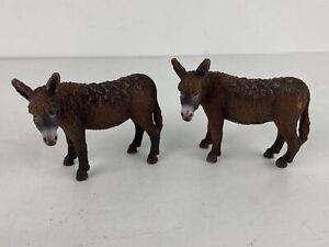Lot Of 2 Schleich Donkeys Burro D-73527 Schw GmUnd Am Limes 69 Toy Plastic Fig
