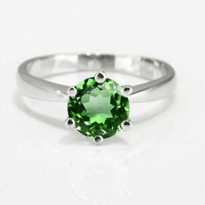 14K White Gold Over 2.00 Ct Round Cut Green Emerald Solitaire Engagement Ring