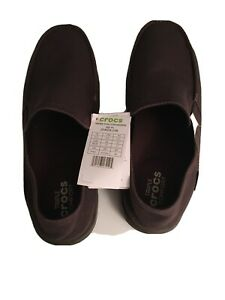 Crocs Mens Santa Cruz Convertible Canvas Slip-On Size 13 Espresso 204834-23B New