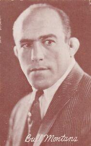 BULL MONTANA-wrestler &HOLLYWOOD silent movie 1920s arcade/exhibit postcard/RARE