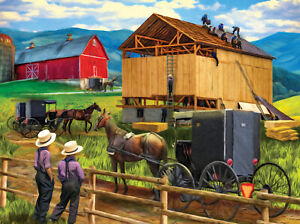 RAISING THE BARN by TOM WOOD - SunsOut 500 piece puzzle  - NEW