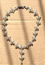 """CLEAR Bead & metal link NECKLACE, SPARKLE, 15.5"""" round + 2.5"""" drop"""