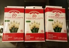 3x 20 Clear Mini Christmas Craft Lights Green Wire  Wreath Tree Holiday
