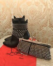 Christian Louboutin Studded Hongriose 85 with matching Clutch  Purse Boots Sz 38