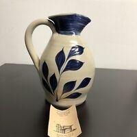 Williamsburg Pottery Virginia Hand Carved Cobalt Salt Glaze Jug Vase