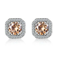 High Quality Engagement Holiday Dazzling Morganite Gems Silver Stud Earrings