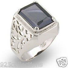 11X9 mm 9 Ct. 925 Sterling Silver Filigree Black Gray Solitaire Men Ring Size 13