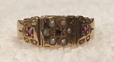 SUPERB VINTAGE ENGLISH 9ct GOLD-RUBY & SEED PEARL RING-SHEFFIELD 1994-UK: M-US 6