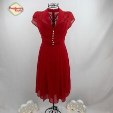 Hell Bunny Paige Red Chiffon Dress Retro Rockabilly Vintage 50s 40s 60s Pin Up